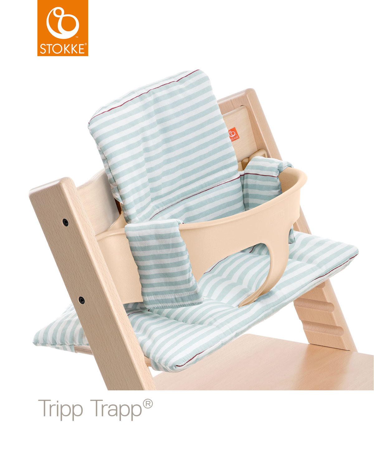 Tripp Trapp Natural with BS CS Aqua Stripes Zoom