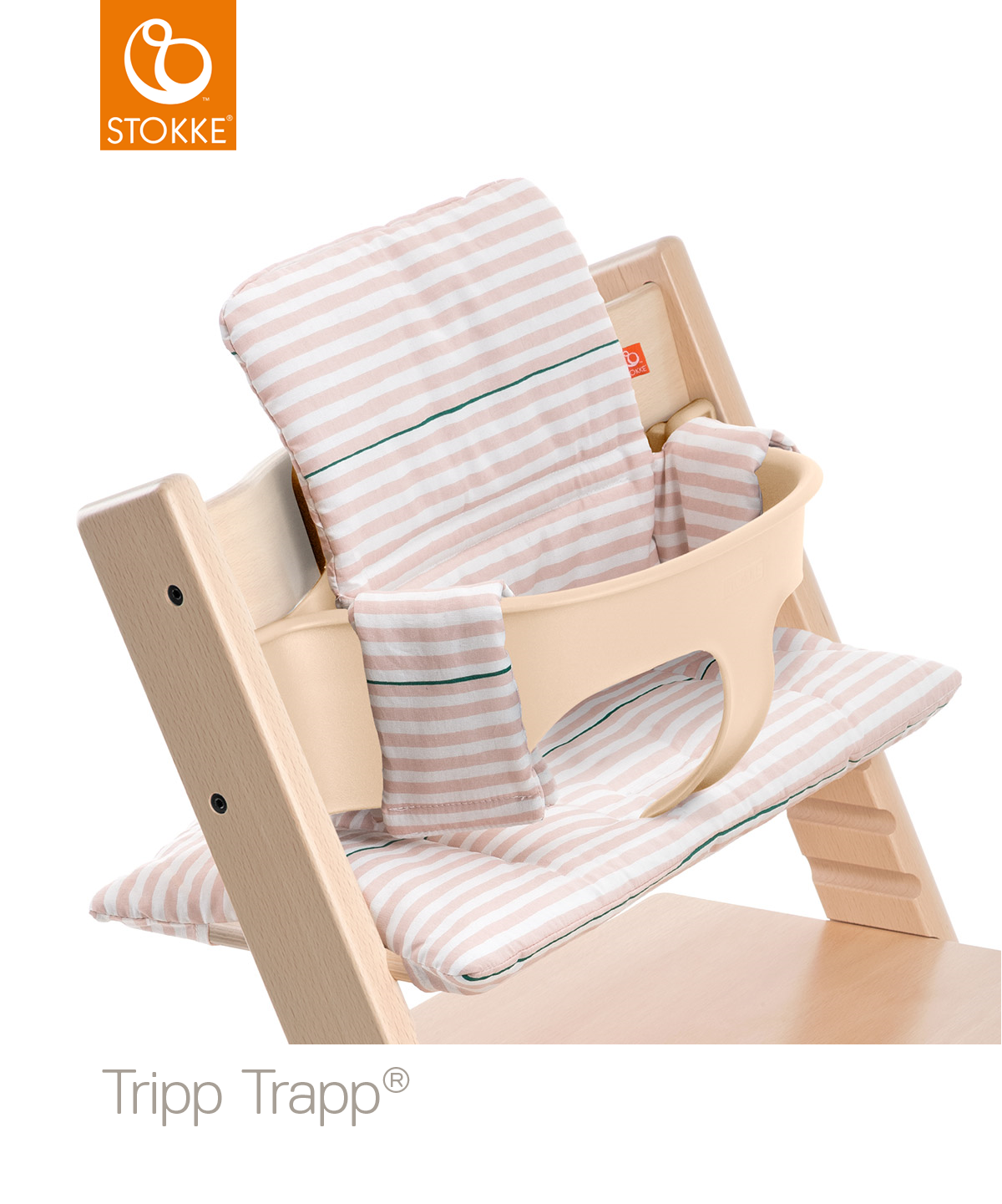 Tripp Trapp Natural with BS CS Pink Stripes Zoom